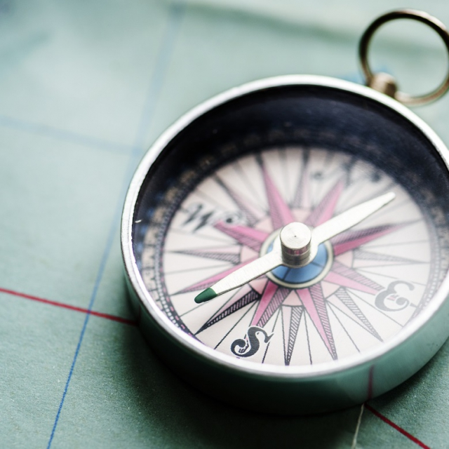Closeup of compass on the map